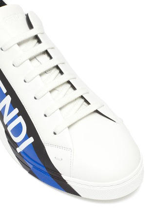 Detail View - Click To Enlarge - FENDI - Logo tape leather sneakers