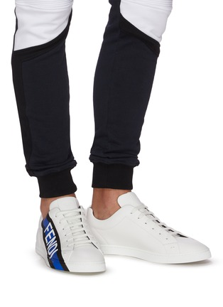 Figure View - Click To Enlarge - FENDI - Logo tape leather sneakers
