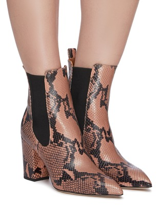 Figure View - Click To Enlarge - PARIS TEXAS - Snake embossed leather ankle boots