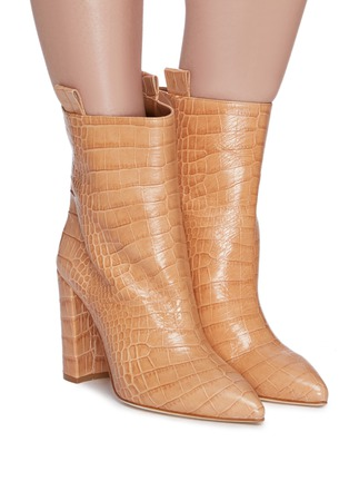 Figure View - Click To Enlarge - PARIS TEXAS - Croc embossed leather mid calf boots