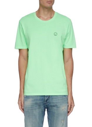 Main View - Click To Enlarge - YEAH RIGHT NYC - Smiley Face embroidered patch T-shirt
