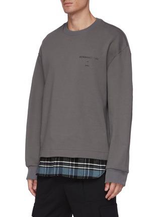 Front View - Click To Enlarge - JUUN.J - Fundamental slogan print flannel hem sweatshirt