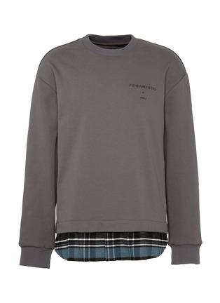 Main View - Click To Enlarge - JUUN.J - Fundamental slogan print flannel hem sweatshirt