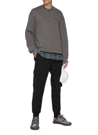 Figure View - Click To Enlarge - JUUN.J - Fundamental slogan print flannel hem sweatshirt