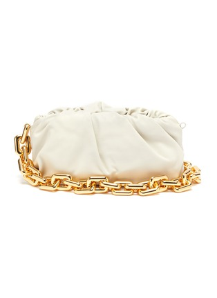 Main View - Click To Enlarge - BOTTEGA VENETA - Metal chain gathered leather pouch
