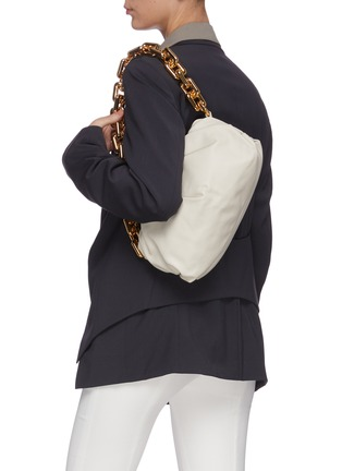 Figure View - Click To Enlarge - BOTTEGA VENETA - Metal chain gathered leather pouch