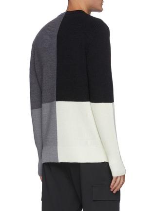 Back View - Click To Enlarge - THEORY - 'Denton' colourblock merino wool sweater