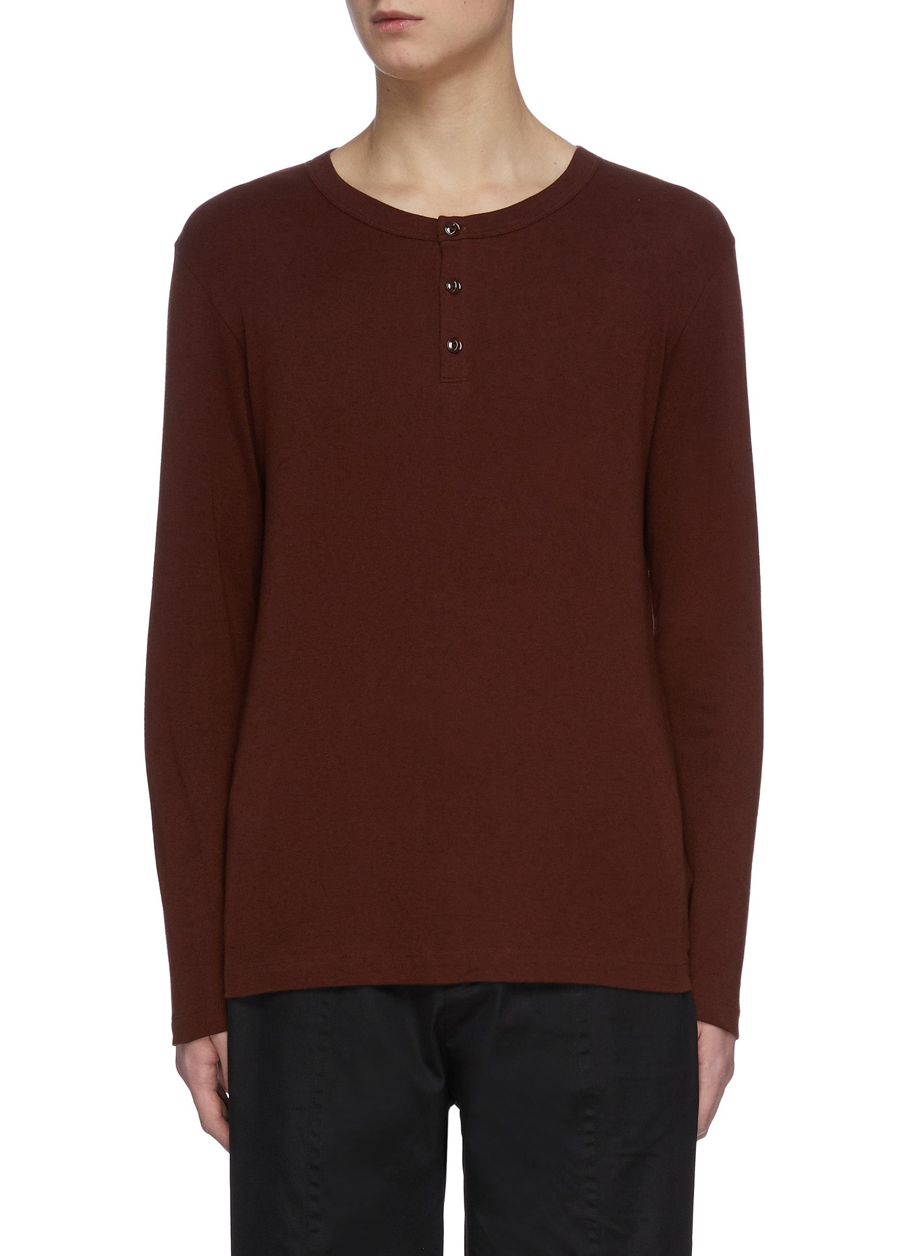 Theory Cottons 'WYNDEM' LONG SLEEVE COTTON HENLEY T-SHIRT