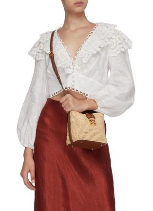 Figure View - Click To Enlarge - MARK CROSS - Murphy Mini raffia shoulder bag