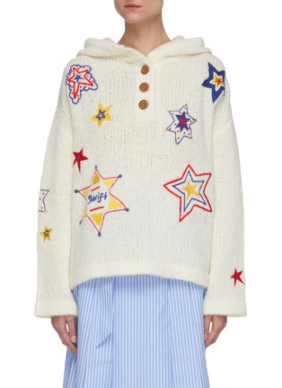 Main View - Click To Enlarge - MIRA MIKATI - Star embellished knit hoodie