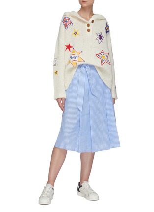 Figure View - Click To Enlarge - MIRA MIKATI - Star embellished knit hoodie