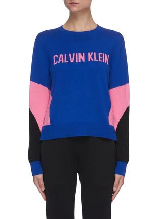 Main View - Click To Enlarge - CALVIN KLEIN PERFORMANCE - Colourblock logo crewneck knit sweater
