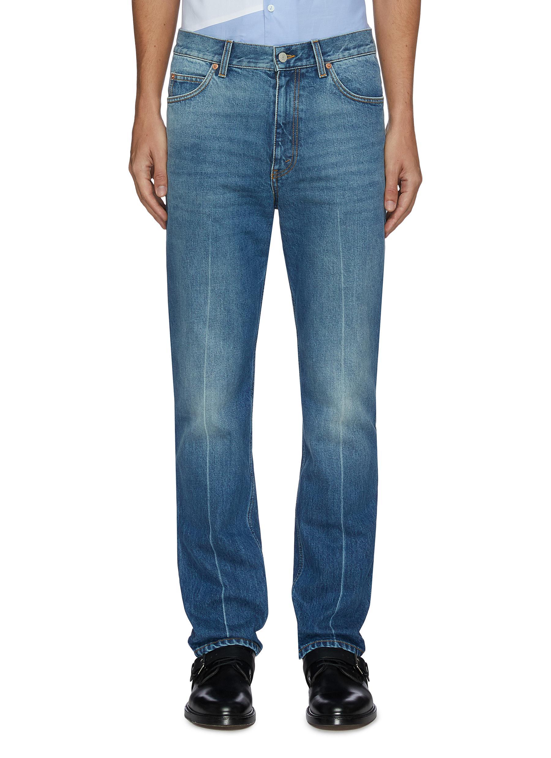 Marble wash fold jeans - GUCCI - Modalova