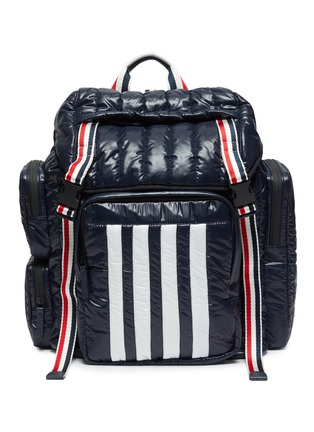 Main View - Click To Enlarge - THOM BROWNE - Four bar motif tricolour stripe padded nylon backpack