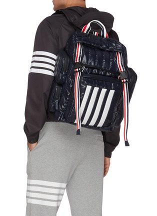 Figure View - Click To Enlarge - THOM BROWNE - Four bar motif tricolour stripe padded nylon backpack