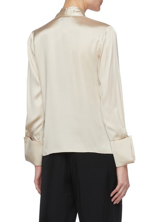 Back View - Click To Enlarge - ALICE + OLIVIA - Rosina tie neck blouse