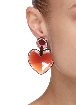 Figure View - Click To Enlarge - LELE SADOUGHI - Jewel stitched heart earrings