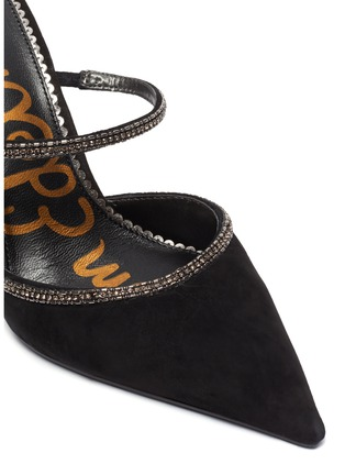 Detail View - Click To Enlarge - SAM EDELMAN - 'Aspen' crystal embellished suede mules