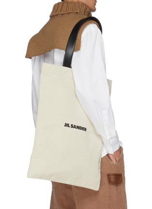 Front View - Click To Enlarge - JIL SANDER - Logo print canvas tote bag