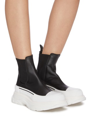 Figure View - Click To Enlarge - ALEXANDER MCQUEEN - Chunky Outsole Cap Toe Chelsea Boots