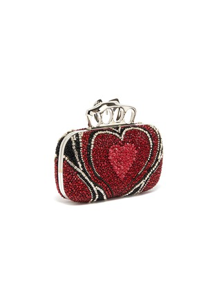 Detail View - Click To Enlarge - ALEXANDER MCQUEEN - Heart strass embellished four ring clutch