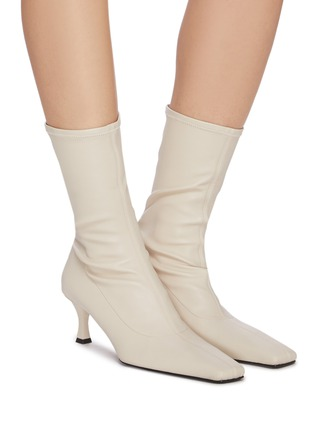 Figure View - Click To Enlarge - PROENZA SCHOULER - Square toe stretch leather boots
