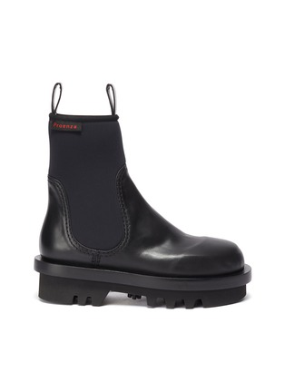 Main View - Click To Enlarge - PROENZA SCHOULER - Neoprene panel leather combat boots