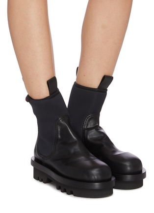 Figure View - Click To Enlarge - PROENZA SCHOULER - Neoprene panel leather combat boots