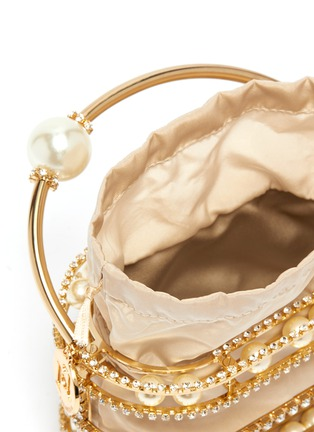 Detail View - Click To Enlarge - ROSANTICA - 'Abaco' strass embellished moving pearls top handle clutch