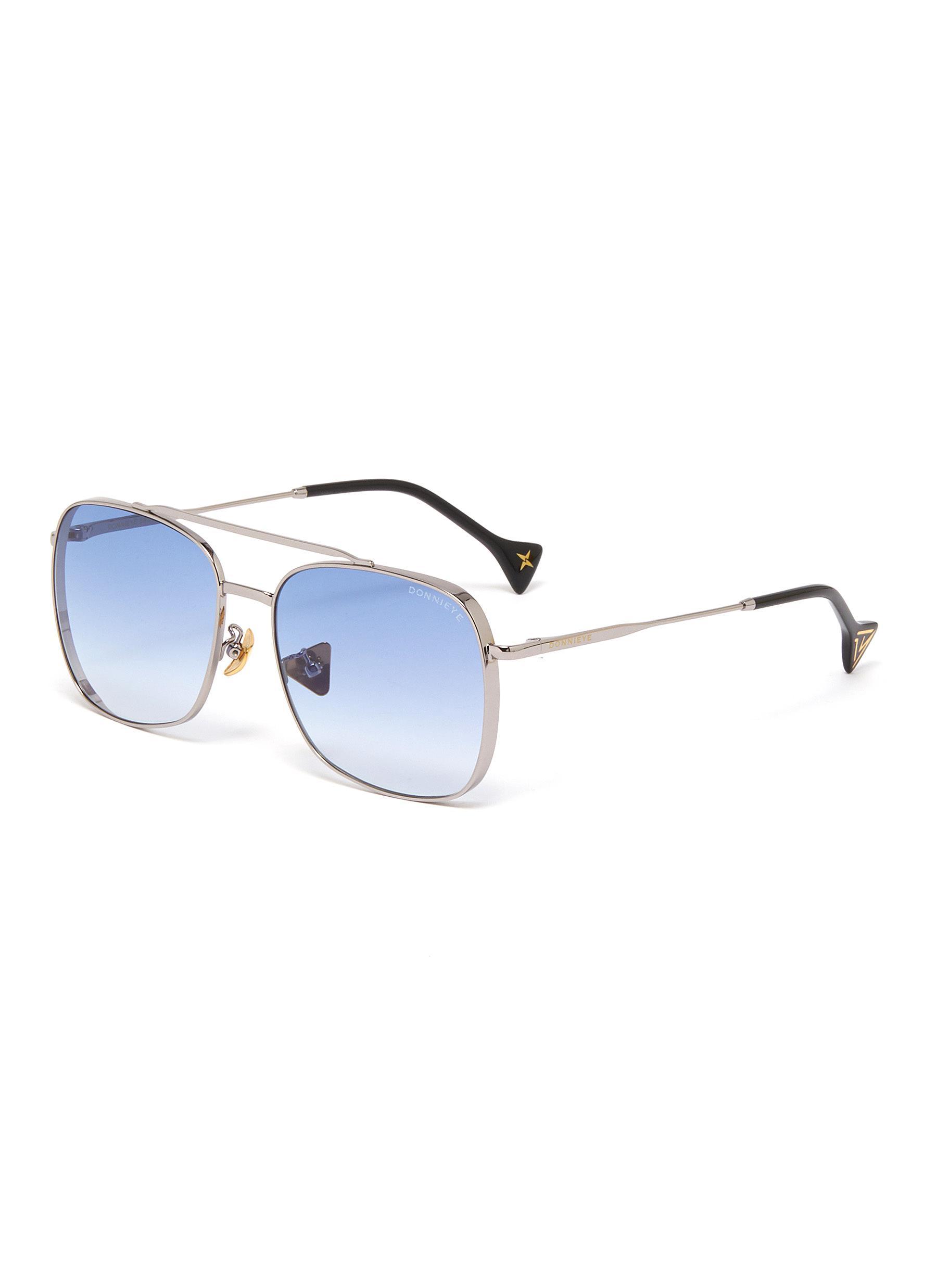 'Fearless' square metal frame aviator sunglasses