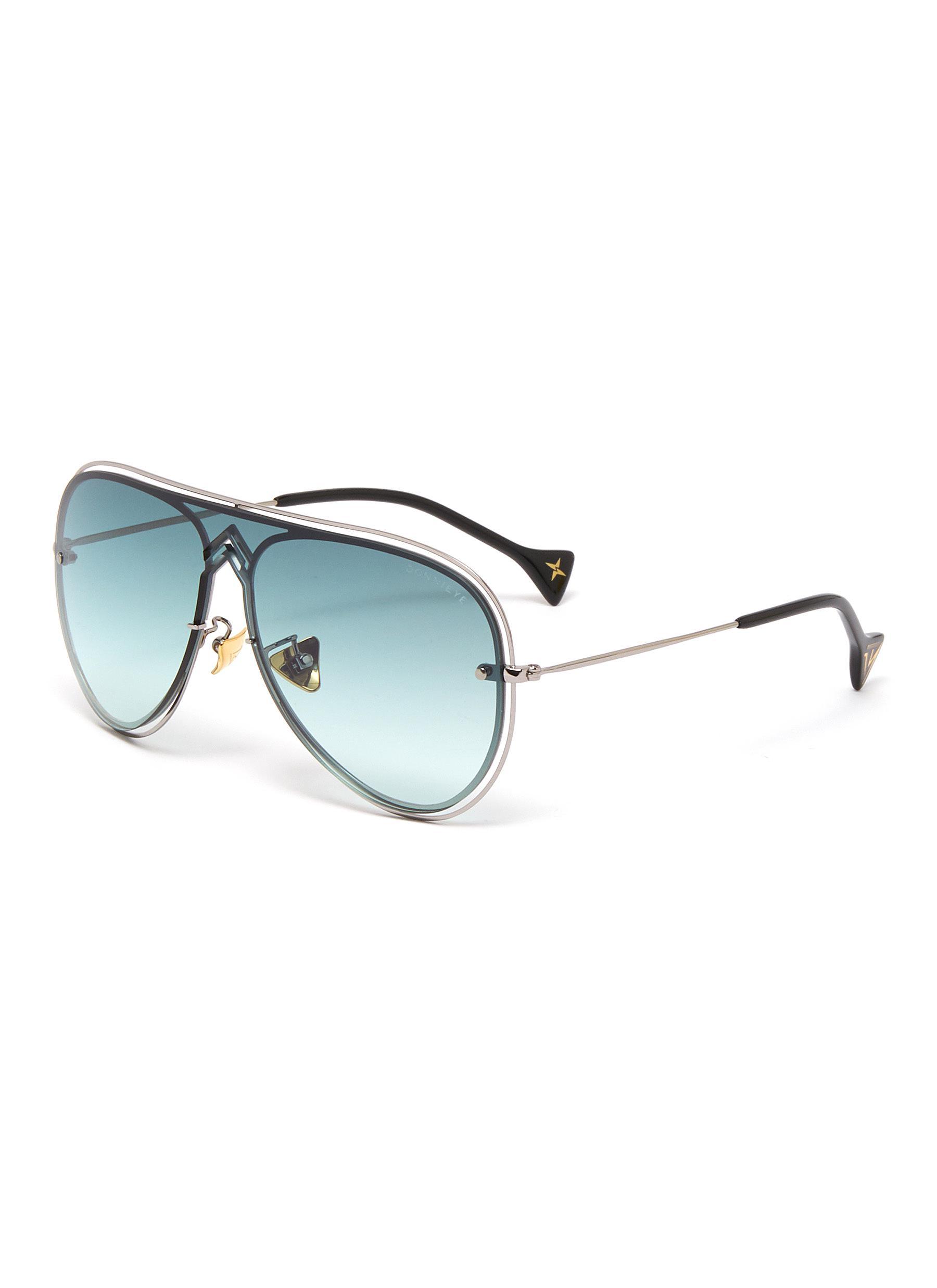 'Peace' metal frame cutout aviator sunglasses