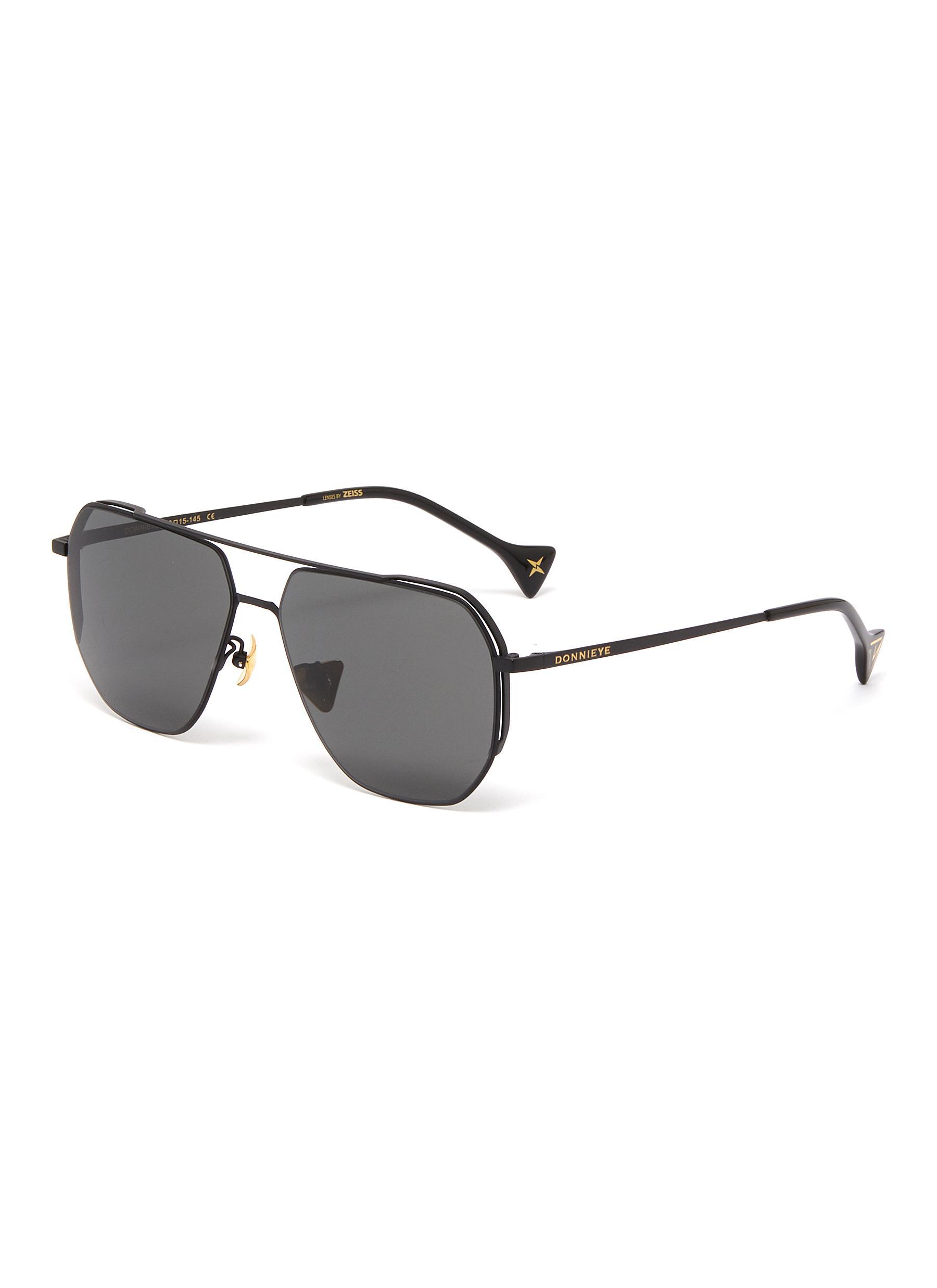 'Sagacious' metal frame aviator sunglasses