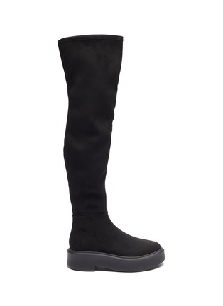 Main View - Click To Enlarge - PEDDER RED - 'Hero' suede platform knee boots