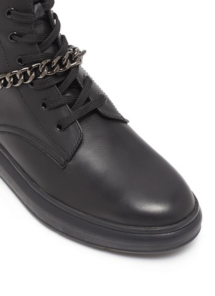 Detail View - Click To Enlarge - PEDDER RED - 'Kaia' chain anklet leather combat boots