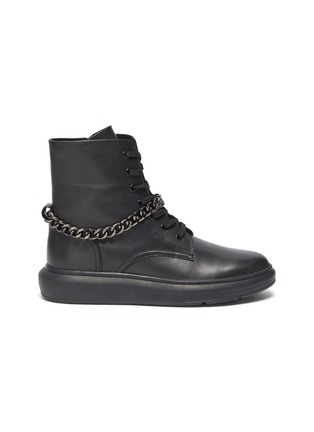 Main View - Click To Enlarge - PEDDER RED - 'Kaia' chain anklet leather combat boots