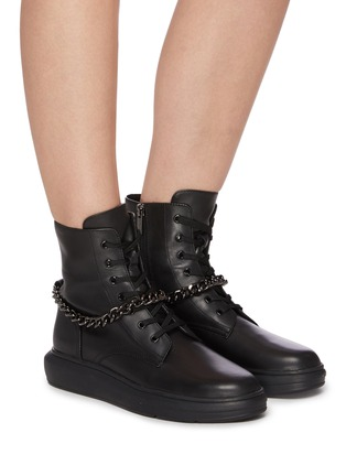 Figure View - Click To Enlarge - PEDDER RED - 'Kaia' chain anklet leather combat boots