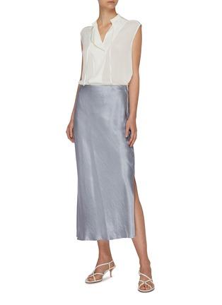 Figure View - Click To Enlarge - VINCE - Side slit midi slip skirt