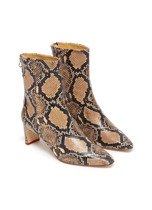 Detail View - Click To Enlarge - AEYDE - 'Ivy' thin block heel snake embossed leather ankle boots