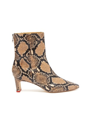 Main View - Click To Enlarge - AEYDE - 'Ivy' thin block heel snake embossed leather ankle boots