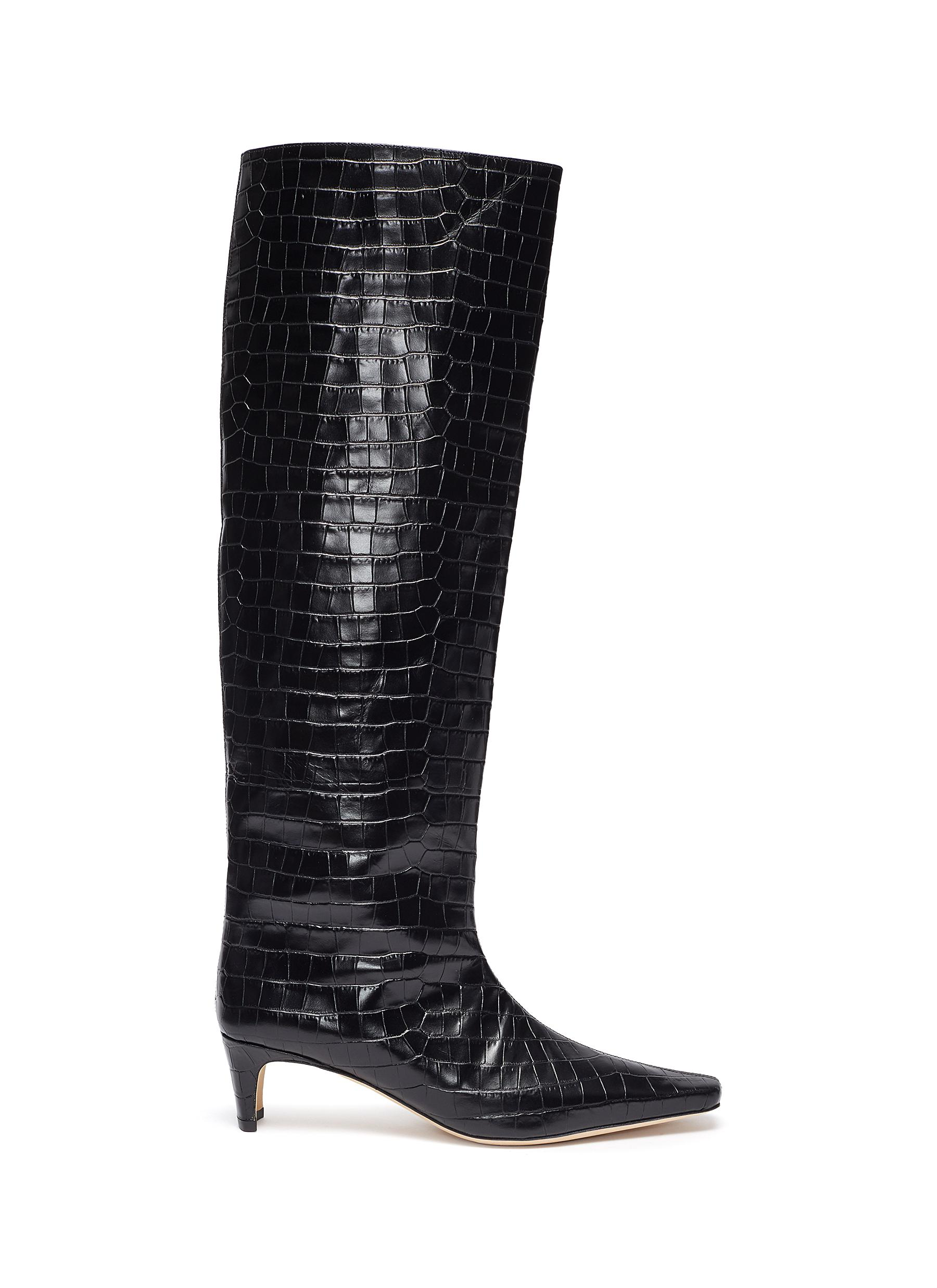 Staud 'WALLY' CROC EMBOSSED LEATHER BOOTS