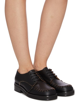 Figure View - Click To Enlarge - JW ANDERSON - Topstitch Round Toe Derby Shoes