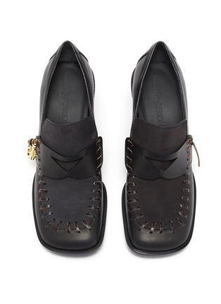 Detail View - Click To Enlarge - JW ANDERSON - Square Toe Block Heel Loafers with Charm