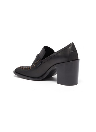 - JW ANDERSON - Square Toe Block Heel Loafers with Charm