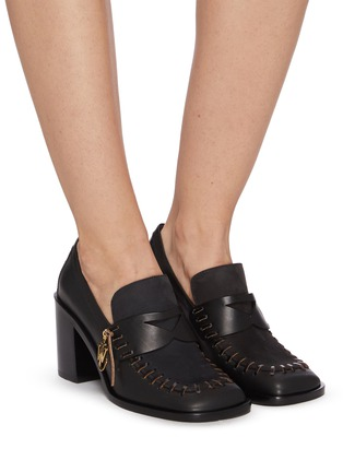 Figure View - Click To Enlarge - JW ANDERSON - Square Toe Block Heel Loafers with Charm