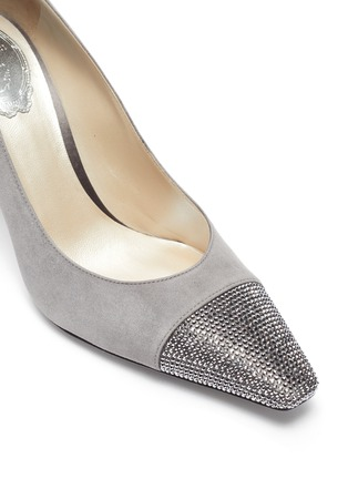 Detail View - Click To Enlarge - RENÉ CAOVILLA - Strass embellished cap-toe suede pumps