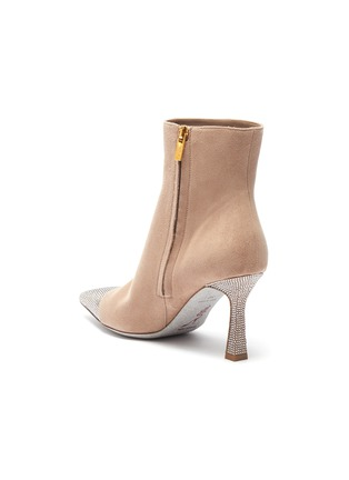 - RENÉ CAOVILLA - Greige strass embellished cap-toe suede boots