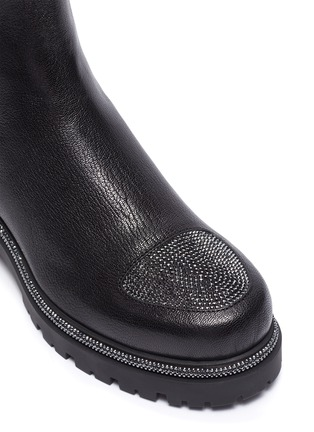 Detail View - Click To Enlarge - RENÉ CAOVILLA - Hematite strass embellished kid leather boots