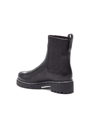 - RENÉ CAOVILLA - Hematite strass embellished kid leather boots