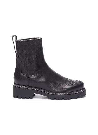 Main View - Click To Enlarge - RENÉ CAOVILLA - Hematite strass embellished kid leather boots