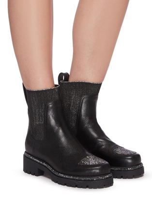 Figure View - Click To Enlarge - RENÉ CAOVILLA - Hematite strass embellished kid leather boots
